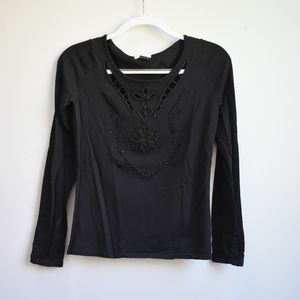 Cache Black Long-Sleeved Beaded Top